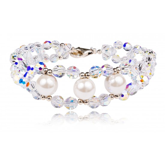 """Bransoletka """"Crystal White Pearl"""""""