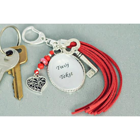 Brelok do kluczy z Twoim napisem - czerwony