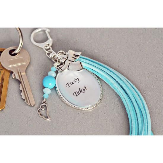 Brelok do kluczy z Twoim napisem - niebieski