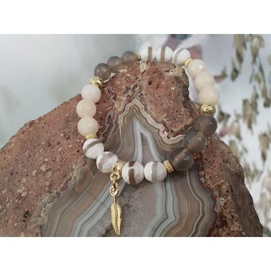 """Bransoletka z kamieni naturalnych """"Agat Tybetański złota"""""""