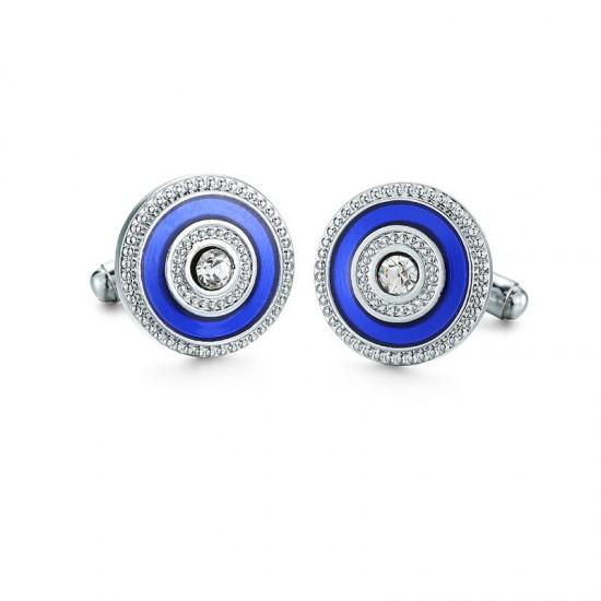 Spinki do mankietów- Blue z kryształkiem