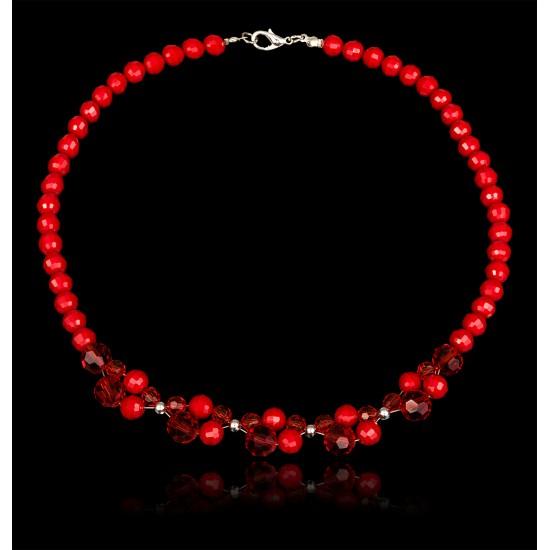 Naszyjnik z czerwonych kryształków