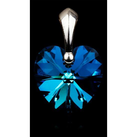 Zawieszka serce Bermuda Blue 14mm